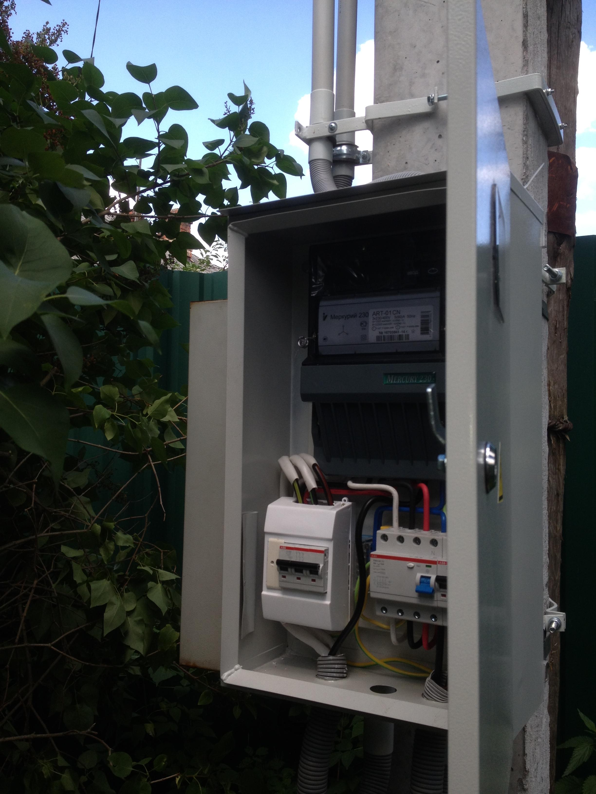 схема подключения электрощитов коттеджей с опн